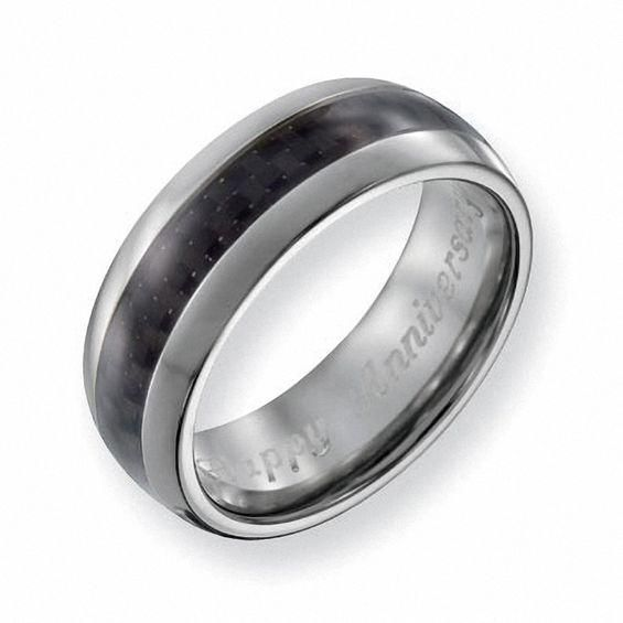 Zales Mens 8.0mm Engraved Titanium Ridged Edge Wedding Band (18 Characters) Y69VHk25V