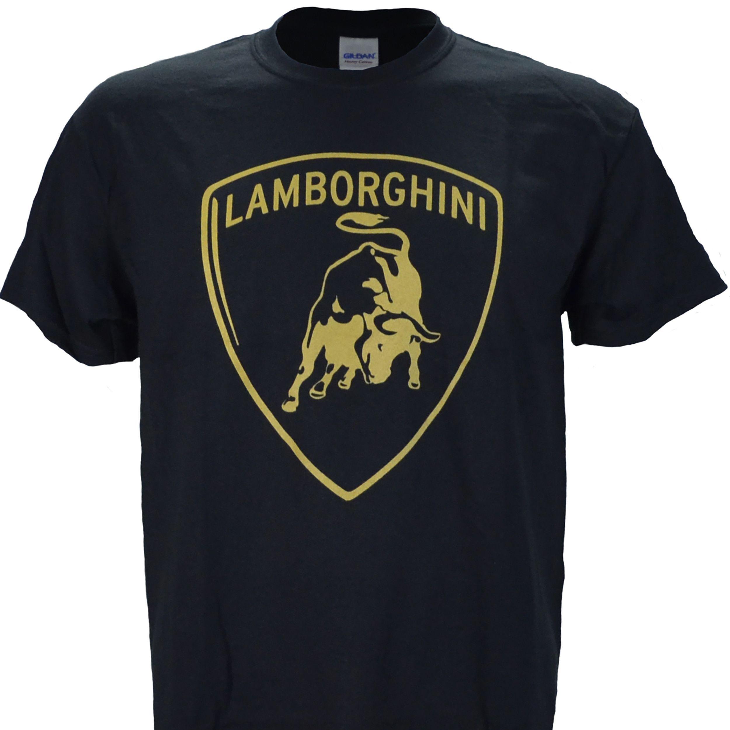 b4009d58672f Lamborghini Logo in Gold on a Black T Shirt | Lamborghini ...