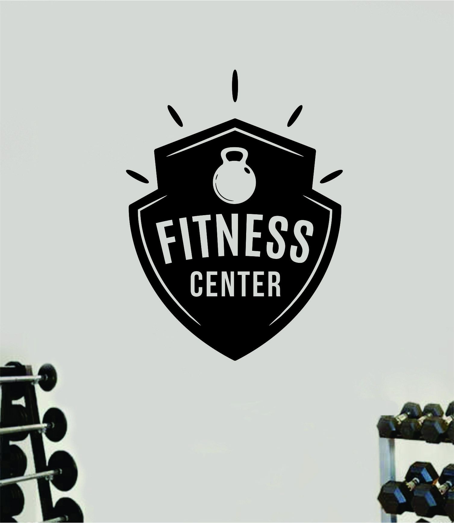 Fitness Center V7 Decal Sticker Wall Vinyl Art Wall Bedroom Room Decor Motivational Inspirational Teen Sports Gym Work Out Lift Health School - purple