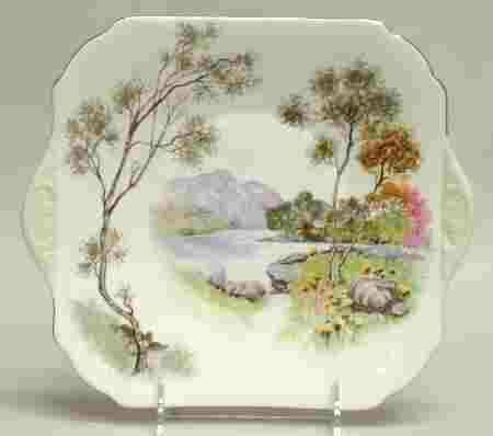 """Shelley china, """"English Lakes"""" pattern, cake plate. Not same pattern, but colors & handles reminded me of Heather sweet meats dish."""