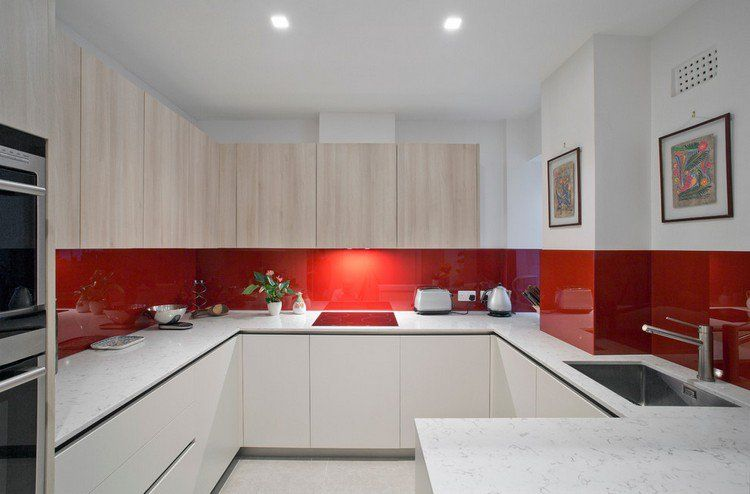 Cuisine en u ouverte pour tout espace 60 photos et - Cuisine design rouge et blanc ...