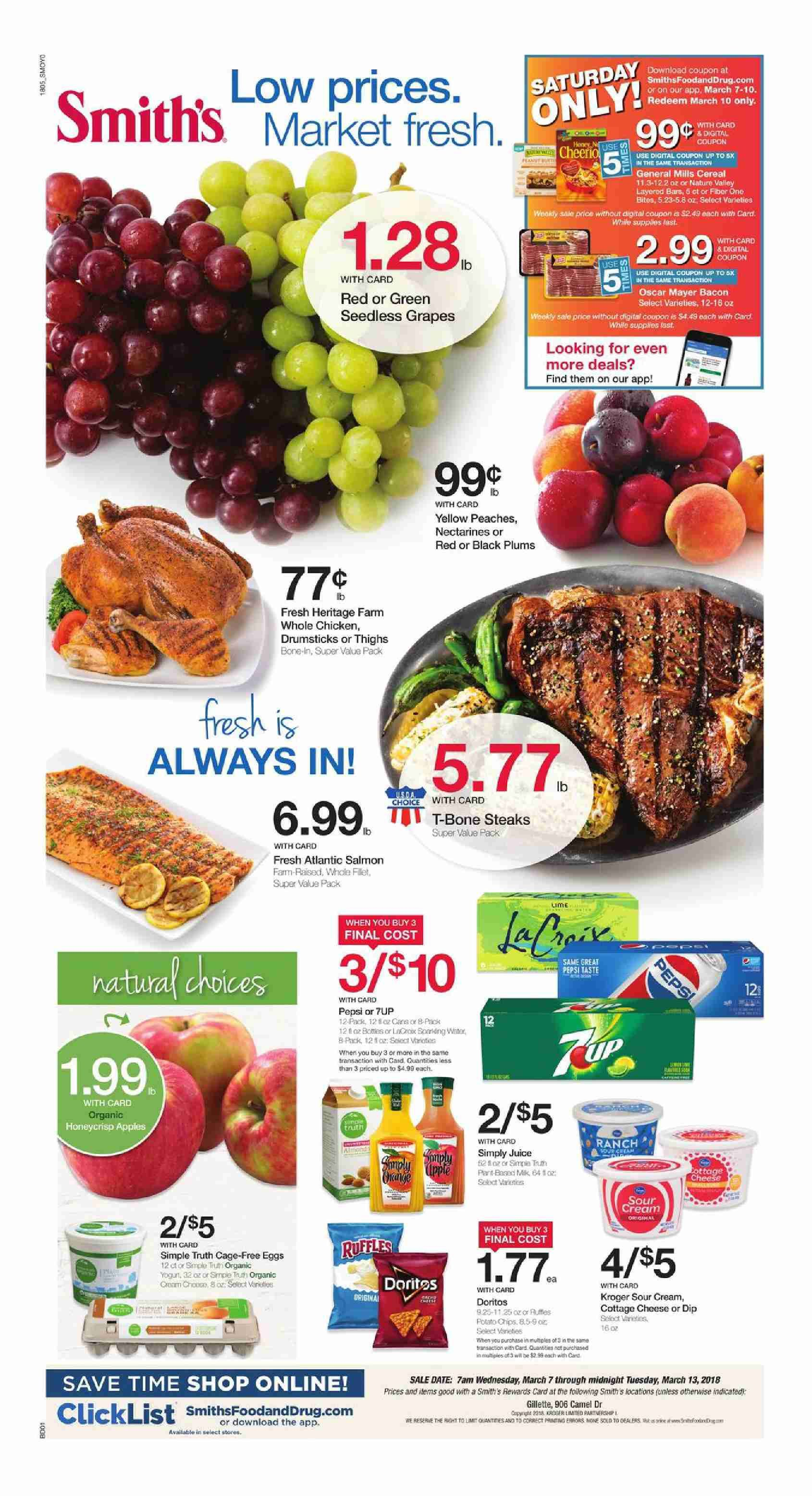 Browsing Latest Smiths Weekly Ad Flyer This Week Period March 7 13 2018 Customer Will Find Digital Coupons Specials Recipe Bakery