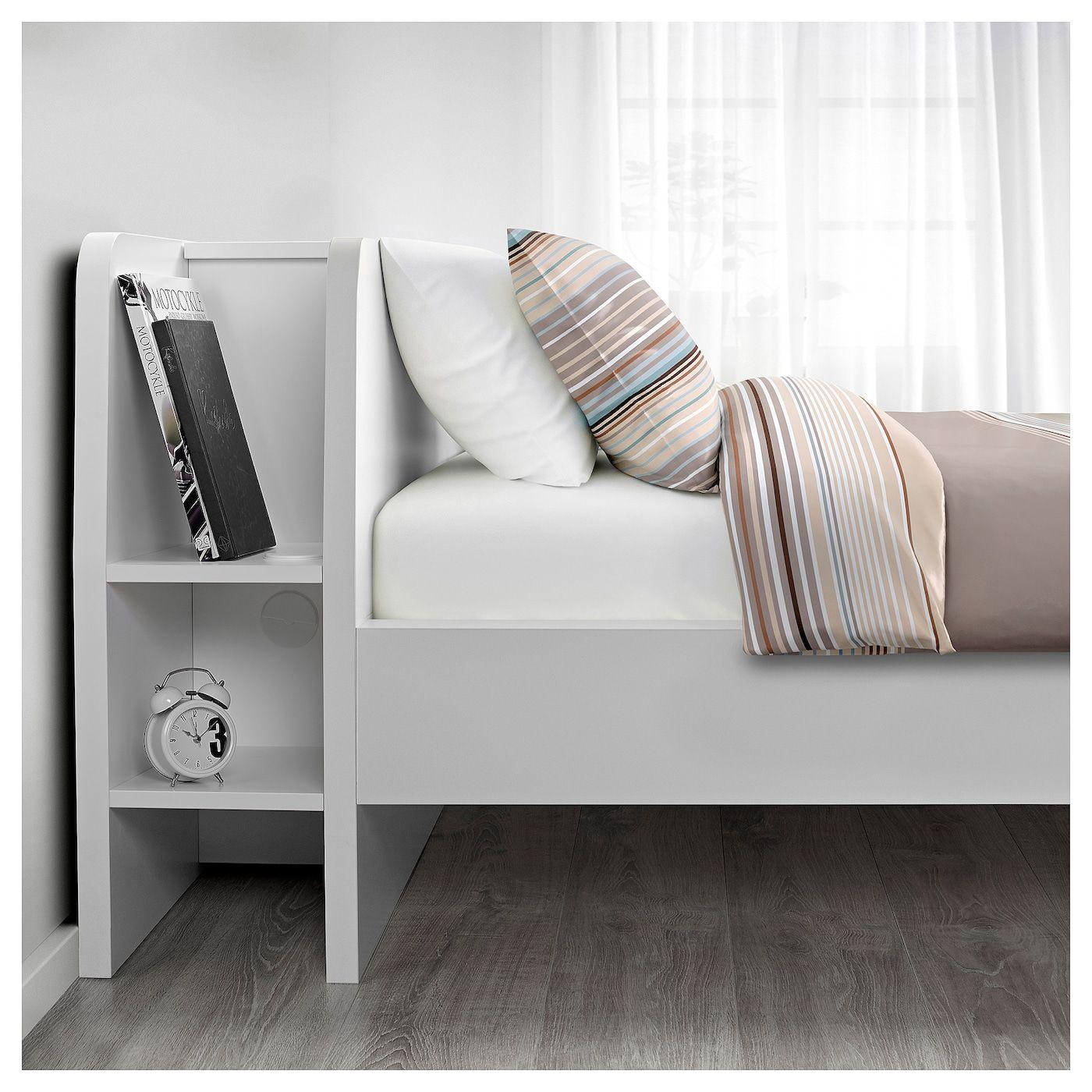 Askvoll Bettgestell Mit Kopfteil Und Aufb Weiss Lonset Ikea Osterreich Bettgestell Bett Lagerung Bett Mit Aufbewahrung