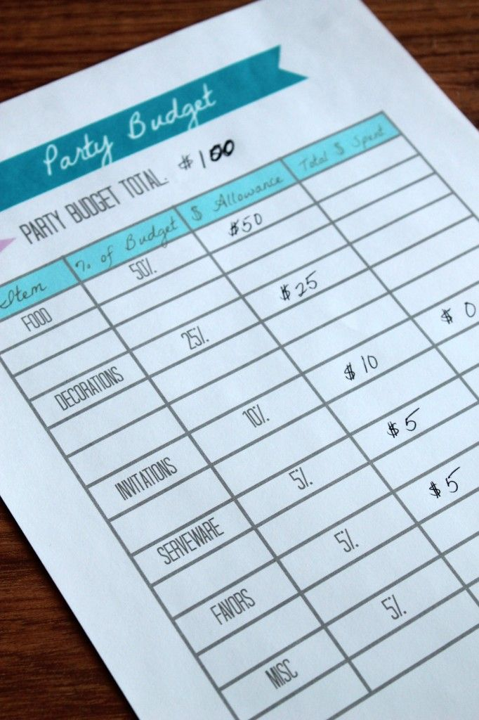 party budget printable by partiesforpennies com party planning 101