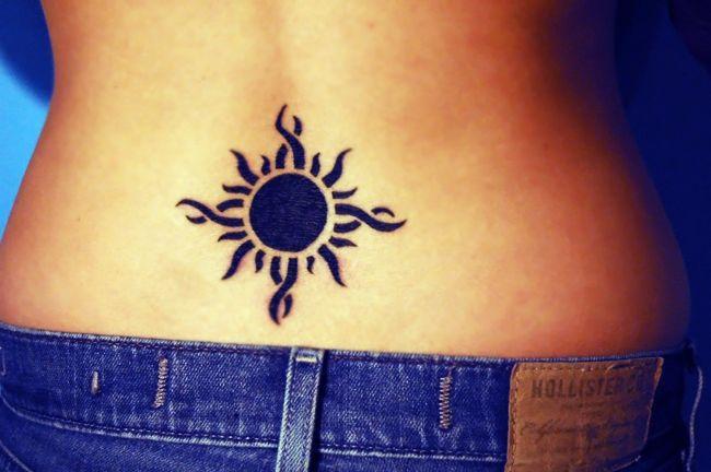 Female Lower Back Sun Tattoo Art Sheplanet Sun Tattoo Tribal Sun Tattoo Sun Tattoo Designs
