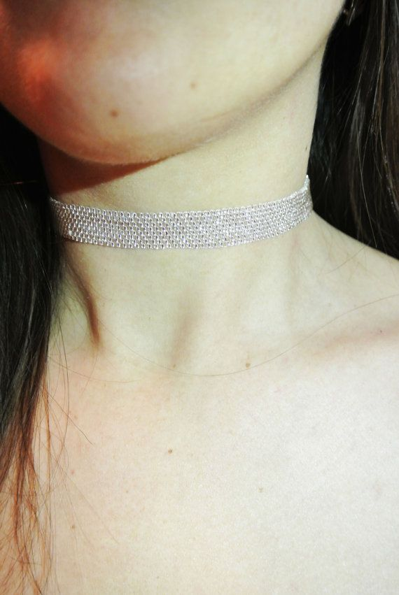 Bead Diamond Choker Seed Bead Necklace Style by InnessaBoutique