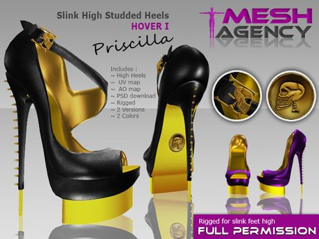 f84046136ca Second Life Marketplace - SLINK Studded Heels Peep Toe Hover 1 ...