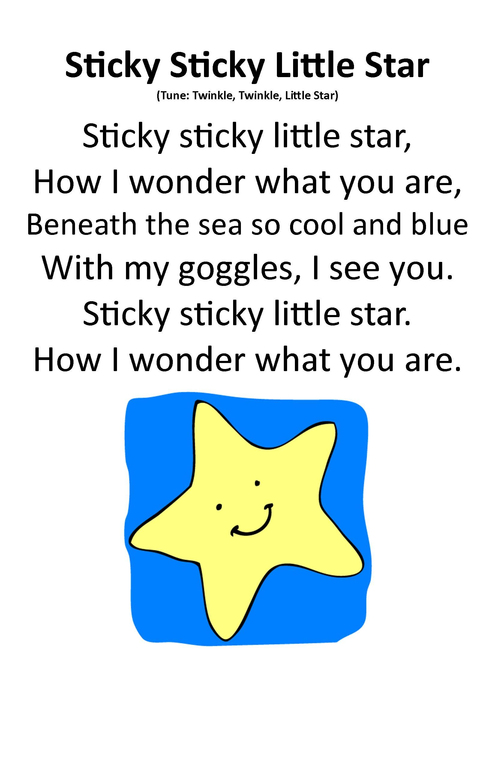 Itty Bitty Beach Babies Rhyme Sticky Sticky Little Star Ocean