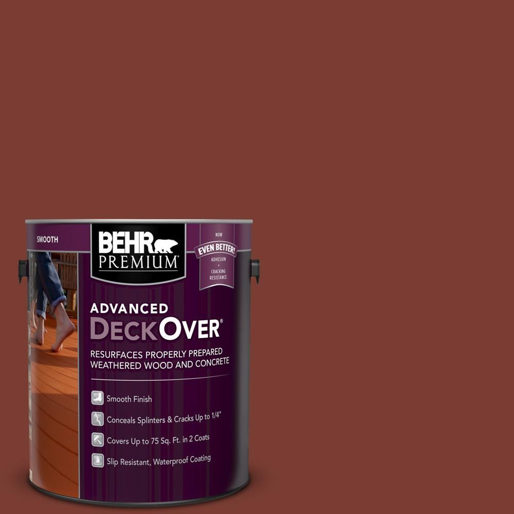 Behr Premium Advanced Deckover 1 Gal Sc 330 Redwood Smooth Solid Color Exterior Wood And Concrete Coating Concrete Coatings Concrete Concrete Wood
