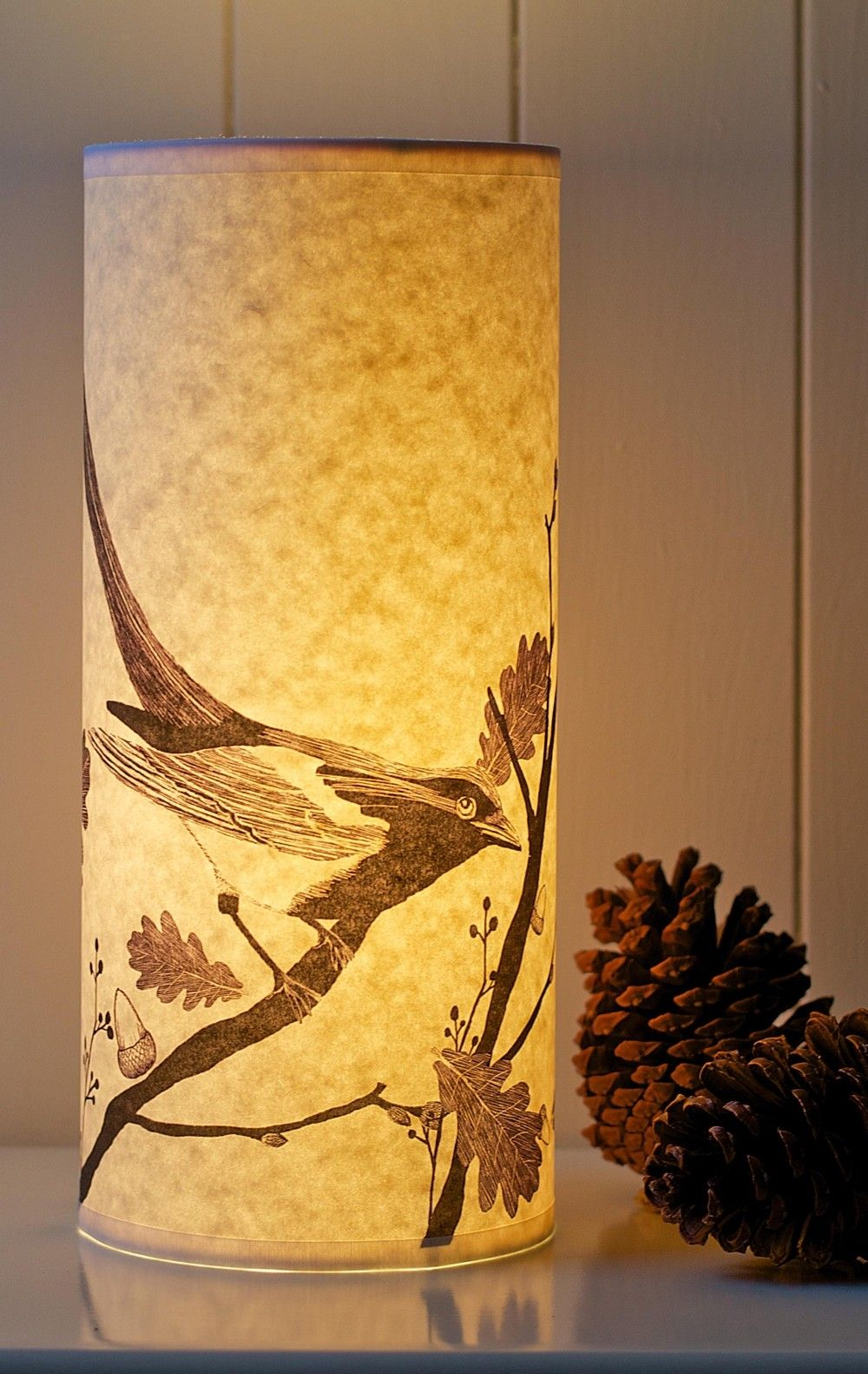 Black & White magpie lamp Radiance by A Northern Light