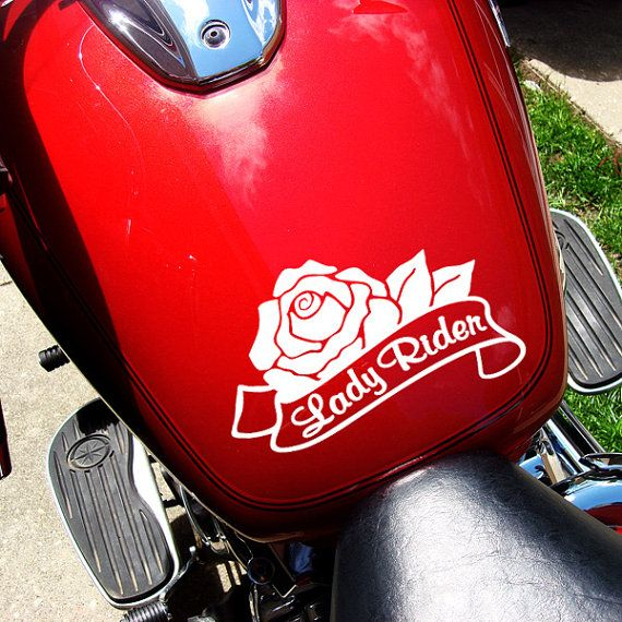 Lady Rider Decal Rose Motorcycle Sticker Lady Rider Car Decal - Motorcycle helmet decals for ladies