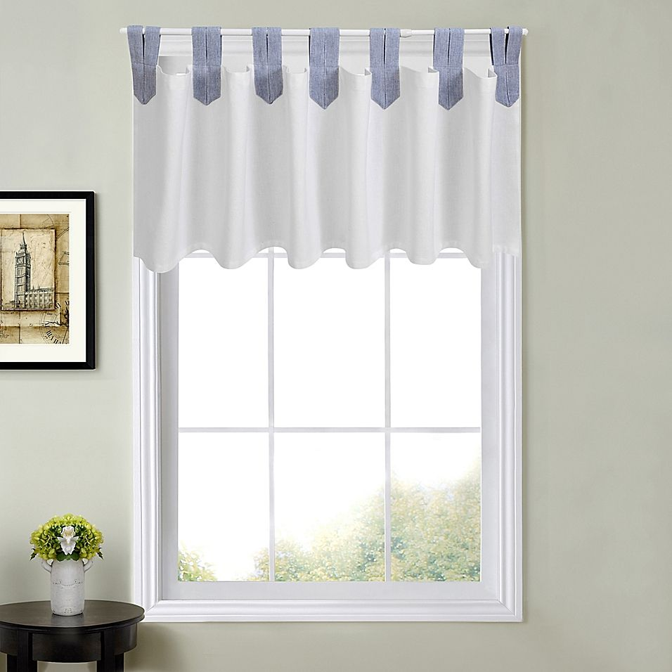 Acadia Striped Valance In Blue Valance Striped Curtains