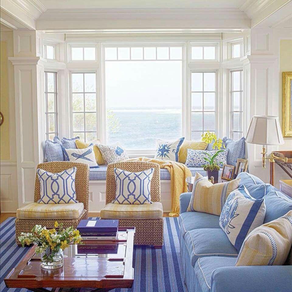 Blue White Yellow Coastal Living Rooms Beach House Decor
