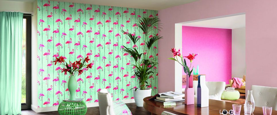 flamingo tapete wallpaper wandtattoos tapeten von. Black Bedroom Furniture Sets. Home Design Ideas