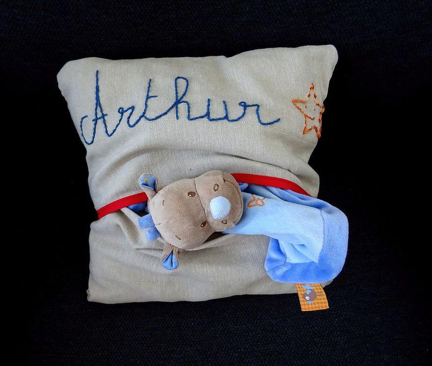 Coussin personnalis avec une pochette bricolage enfant couture - Ou mettre son lit dans une chambre ...