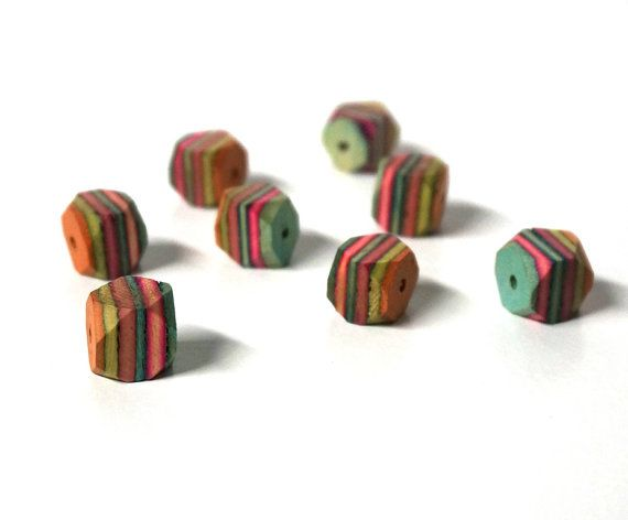 10mm faceted multicolor layered wood beads by RiverSongBeads