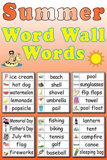 30 summer word wall words summer words preschool word on word wall id=27366