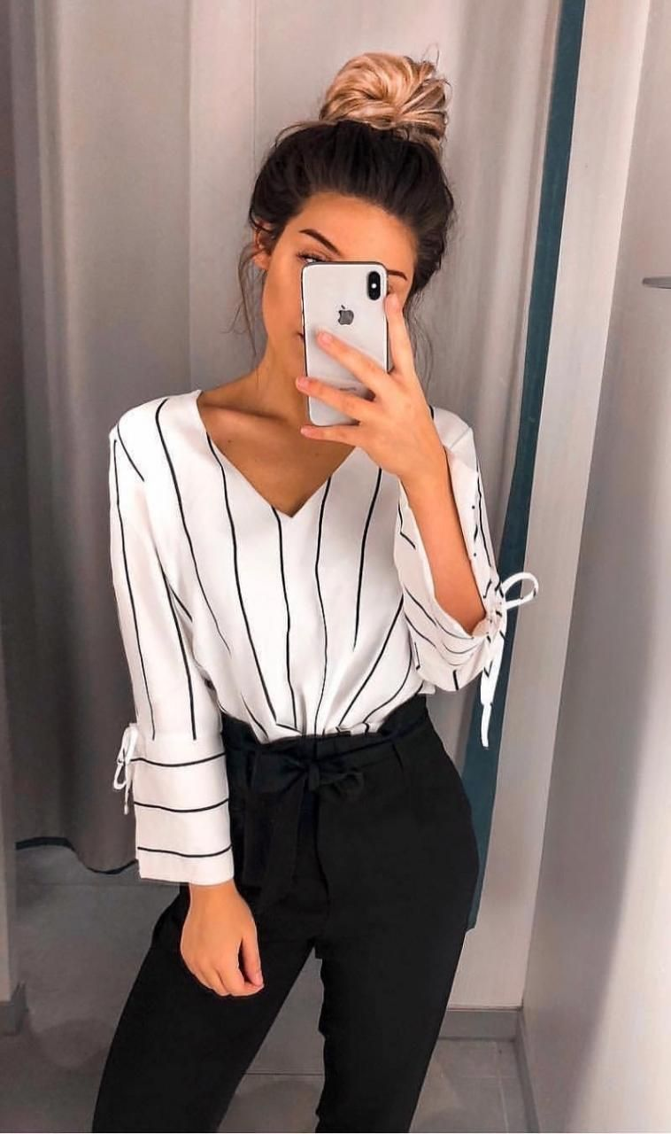 Fairlyn Ivory Striped Tie-Front Crop Top #businesscasualoutfits