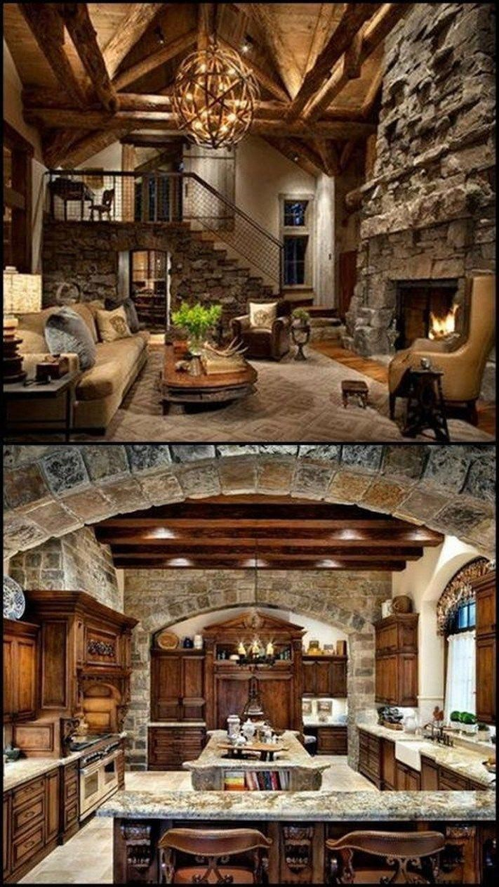 charming empty living room fireplace | 39 Gorgeous Rustic Living Rooms With Charming Stone ...