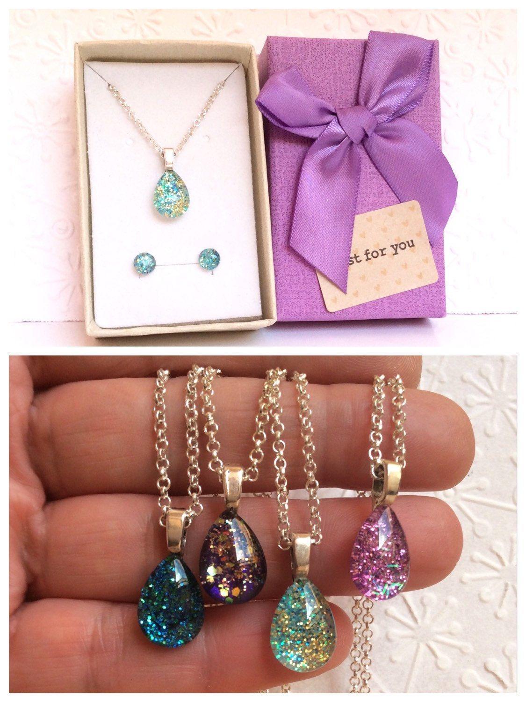 Drops of light glitter parure pendant stud earrings glitter drops
