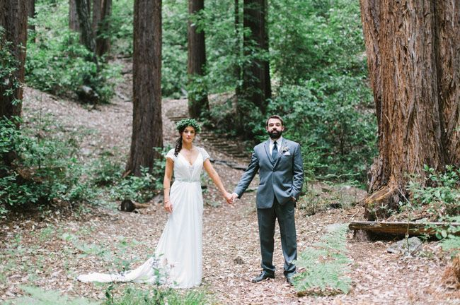 bride and groom in the redwoods