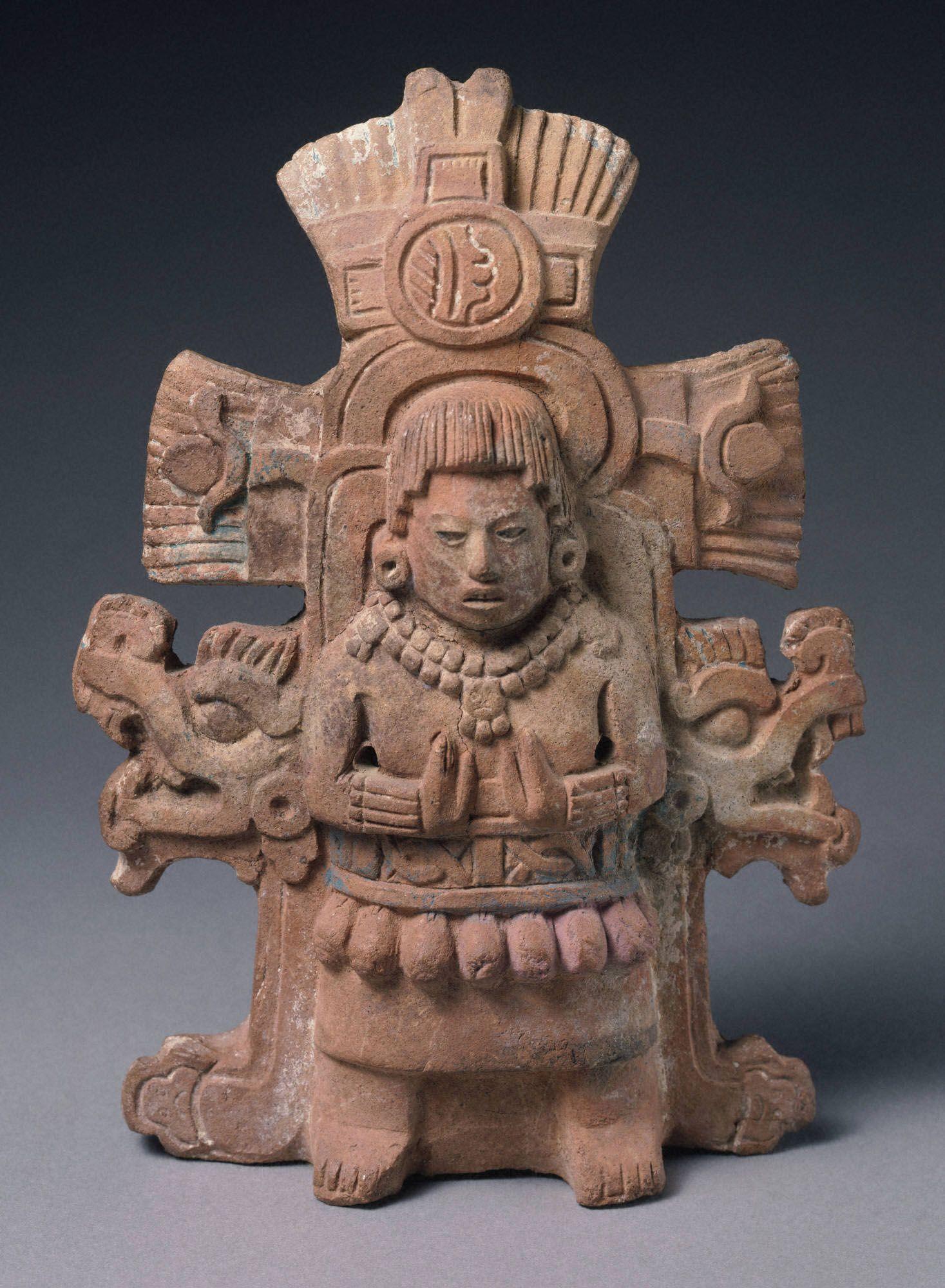 Maya Rattle Depicting A Goddess 600 800 Ad Late Classic