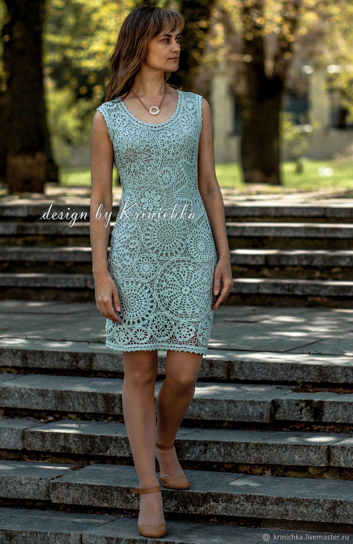 e7073d803e7 Платья ручной работы. Коктейльное кружевное платье крючком из хлопка цвета  морской волны. Криничка (