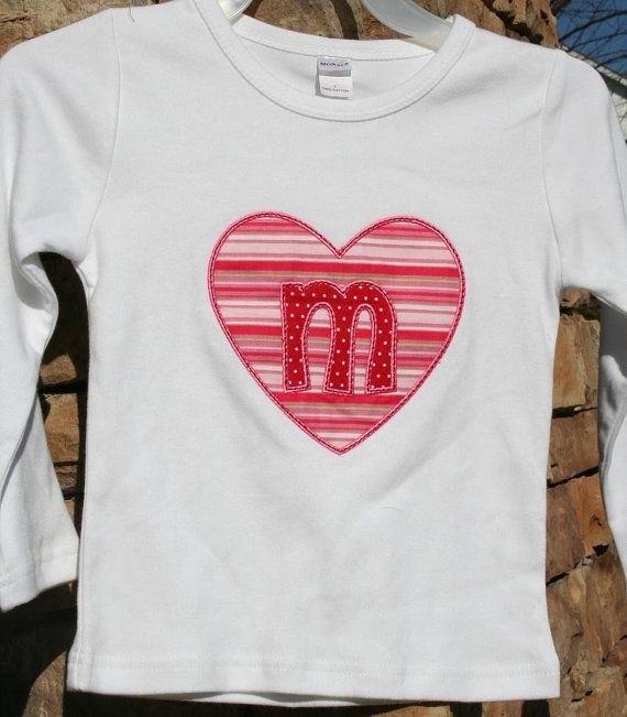 SaMpLe SALE Valentine Heart Letter M Applique Tee T by PamelaPosch, $20.00