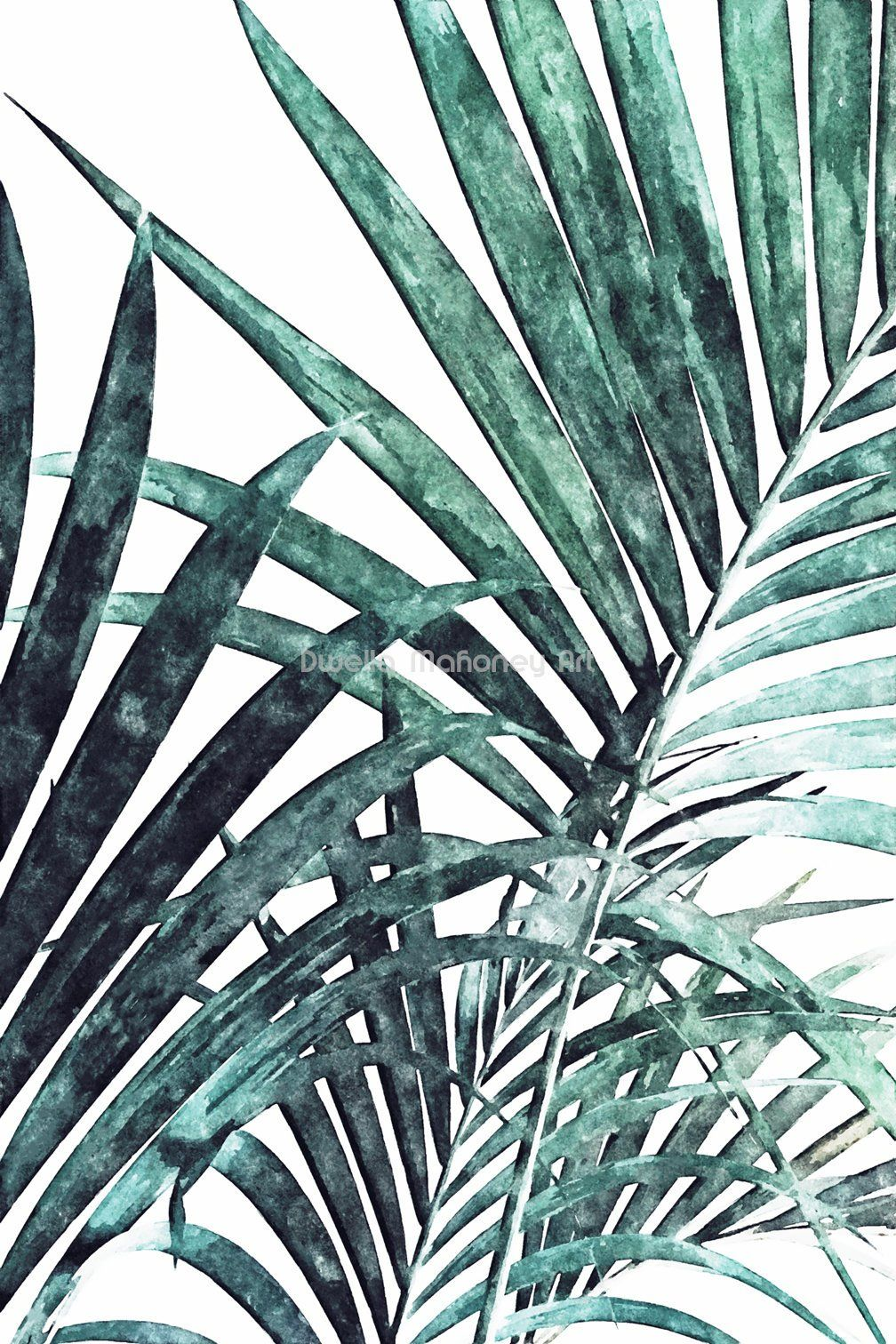 Palm Leaf Print Watercolor Palm Leaves Tropical Leaf Print