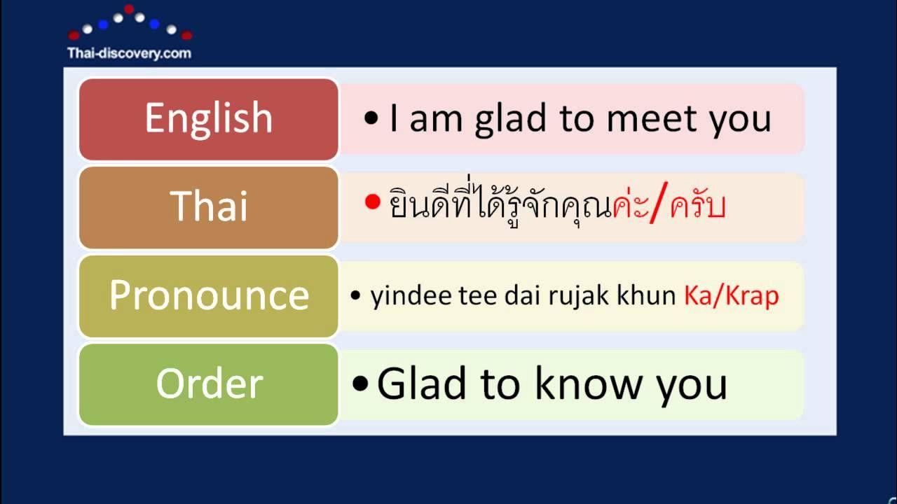 Learn Thai Lesson 1 Greetings Youtube Thai Pinterest