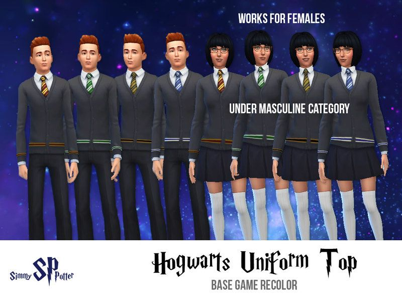 All Four Hogwarts Houses Are Represented Here Choose Your House And Wear It With Pride From The Harry Potter Franch Hogwarts Uniform Sims 4 Sims 4 Characters
