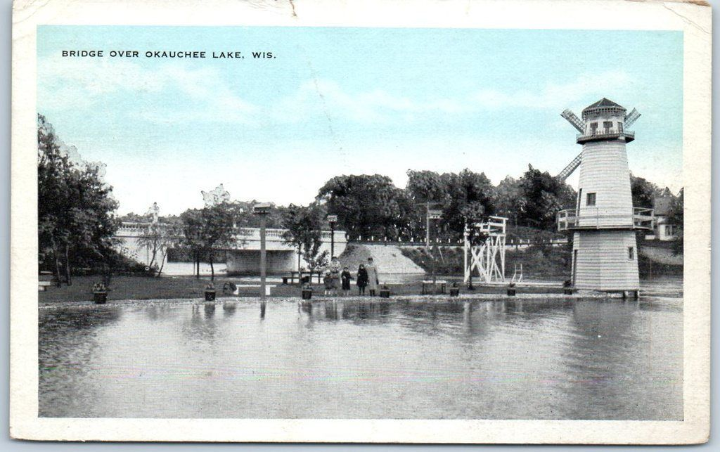 Okauchee Lake Wisconsin Postcard Bridge Windmill View Kropp