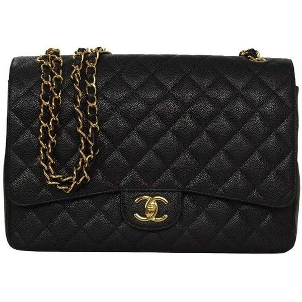 Preowned Chanel Black Quilted Caviar Classic Maxi Double Flap Bag Ghw 263 175 Dop