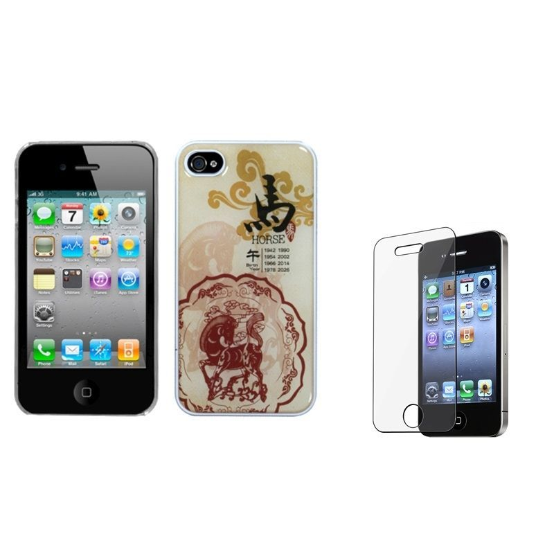 Insten Horse Zodiac Phone Case Cover/ Screen Protector for Apple iPhone 4/ 4S, #1151807