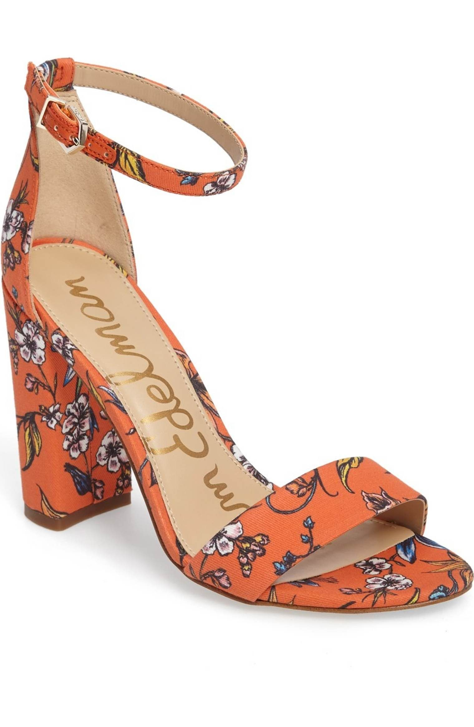 b941bdd48ab2 Main Image - Sam Edelman Yaro Ankle Strap Sandal (Women) orange chunky heel  with print boho