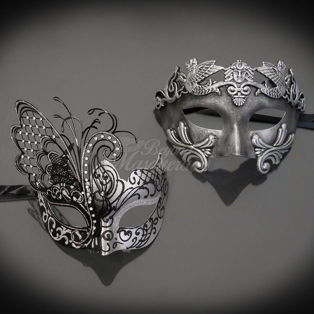 His /& Hers Set M33162 Silver Masquerade Mask M31000 Couples Masquerade Mask