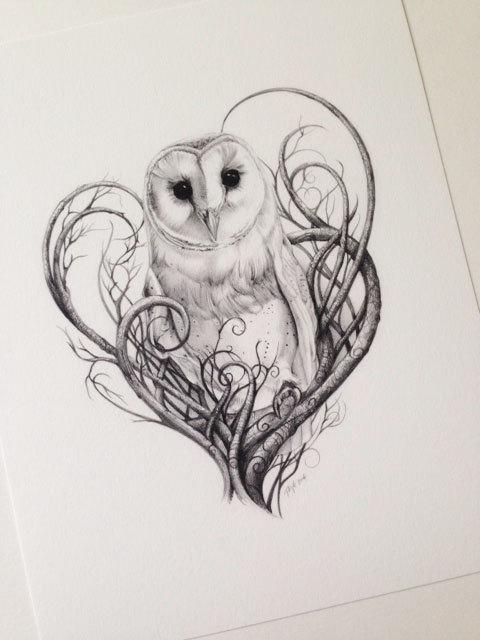 Barn Owl Print - Owl Art - Owl Print Limited Edition ... Labyrinth Owl Tattoo