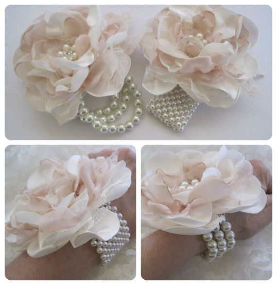 Wrist Corsage Ivory And Champagne Romantic Rose Pearl Cuff Bracelet Bridesmaid Mother Bridal Shower Prom With Rhinestone Accents