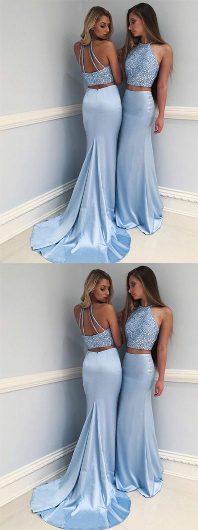 Eleg glamour twopiece round neck sweep train blue prom dress with