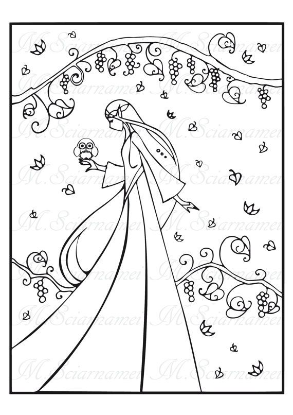 Coloring-Elf-Fairy-Owl-Page-Instant by MadinaDesign on Etsy