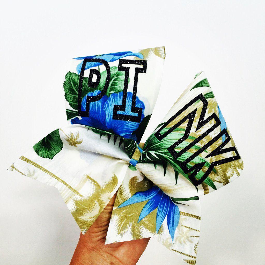 Cheer bow holder for cheer bows and hair bows cheer bow hanger - Tropical Pink Fabric Hawaiian Cheer Bow