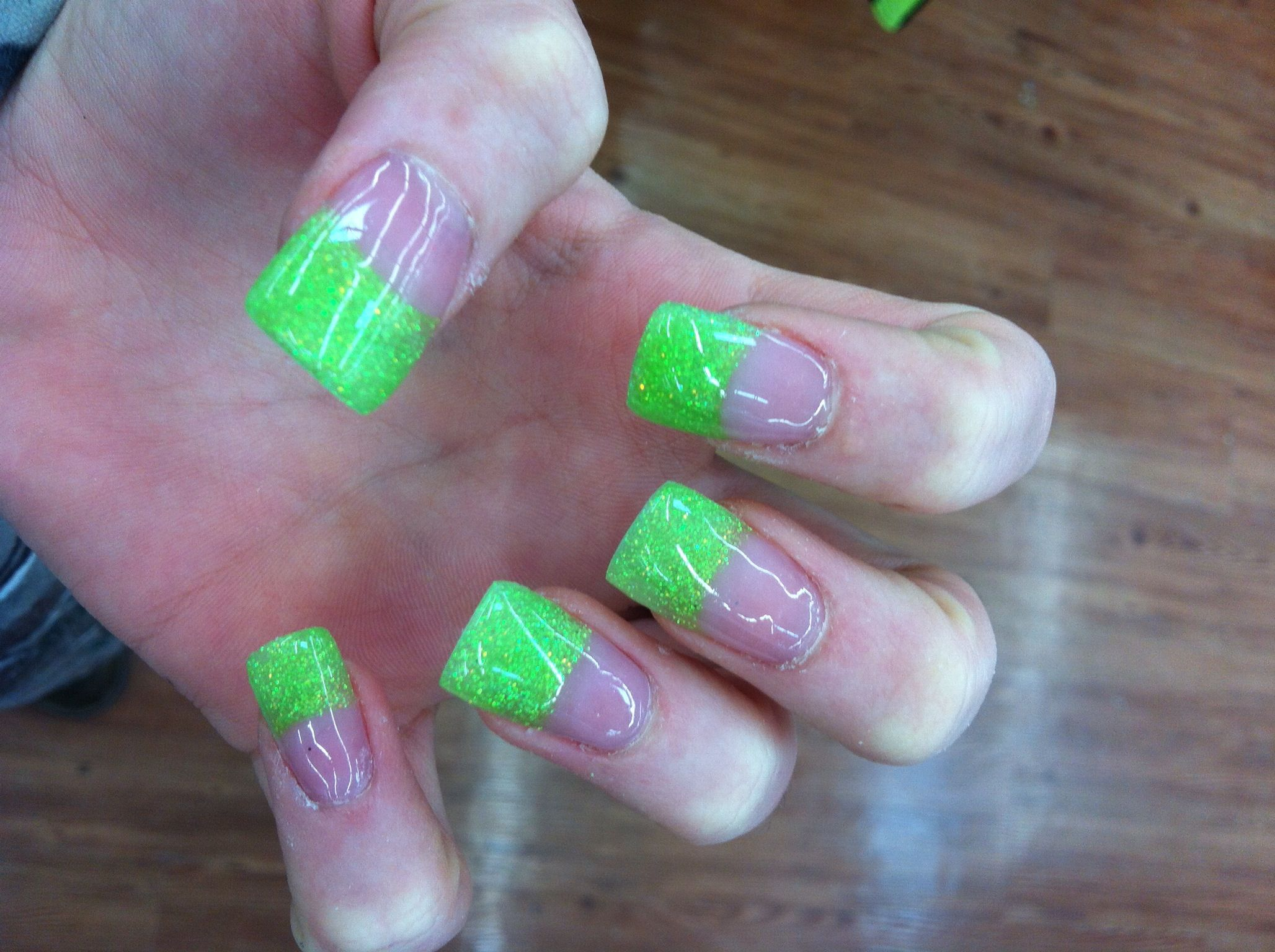 Solar Nails With Sparkle Neon Green Tip