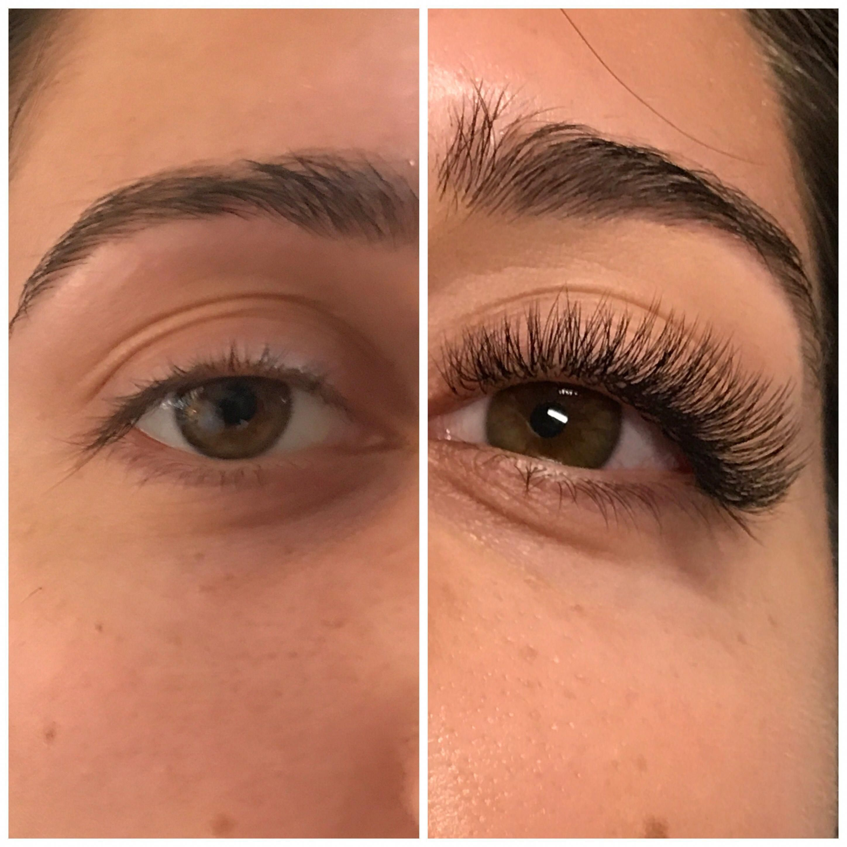 Before after individually applied eyelash extensions