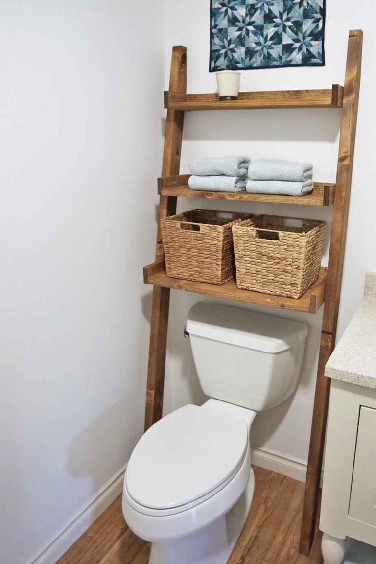 49 Lovely Diy Bathroom Organisation Shelves Ideas Bathroom Bathroom Ladder Toilet Shelves Bathroom Organisation