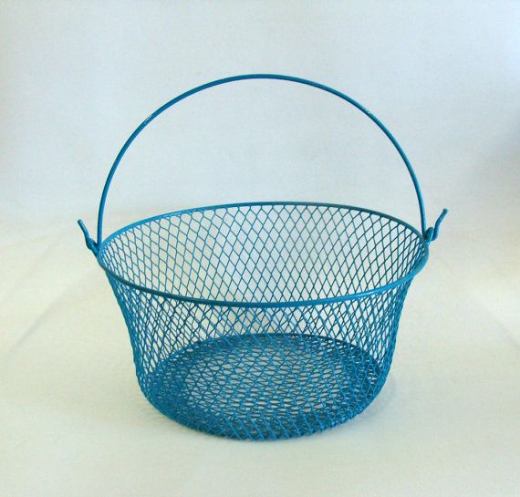 Blue Wire Basket with Handle, Storage Wire Basket, Home Office Decor ...