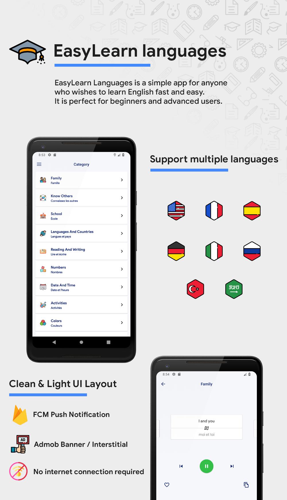EasyLearn languages | AdMob | FCM Push Notification | Scripts