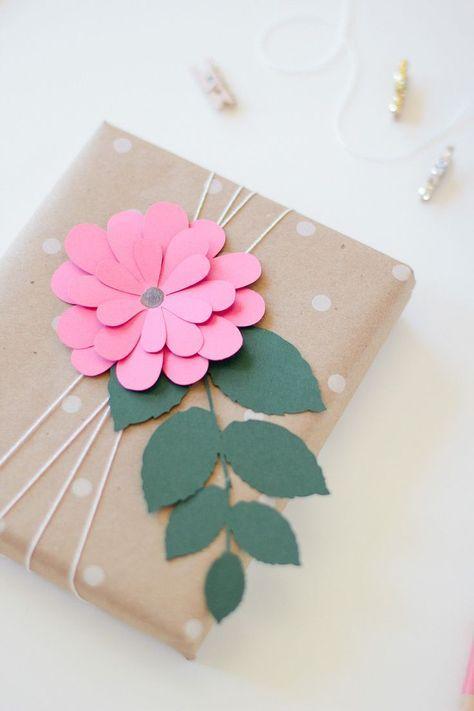 Paper Flower Gift Wrap Pink Bloom Via Anastasia Marie Craft