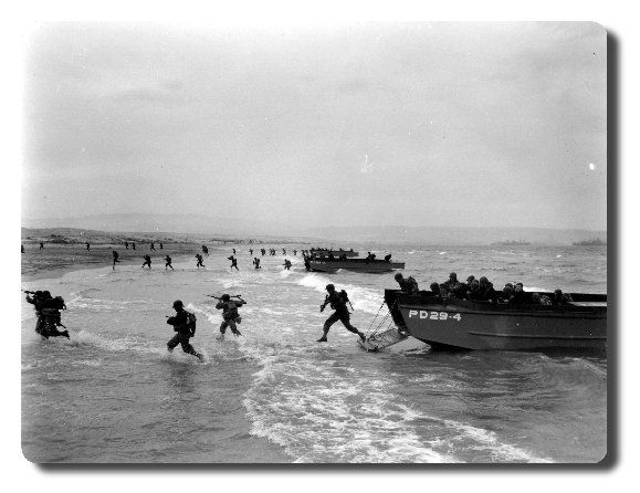Landing beaches of Normandy not far from Caen during WWII