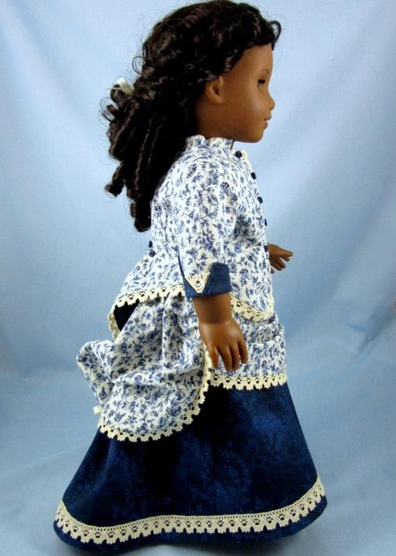 Doll clothes 18inch - 1870s Bustle Dress - 2 Piece - 18 Inch Doll Clothes - Fits American Girl - Blue Floral Print - Historic Doll Clothing #historicaldollclothes