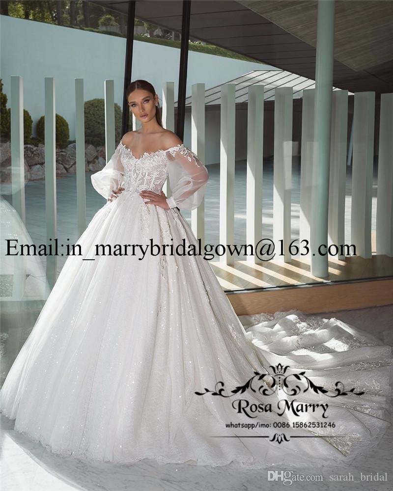 Princess Ball Gown Lace Wedding Dresses 2020 Off Shoulder Long